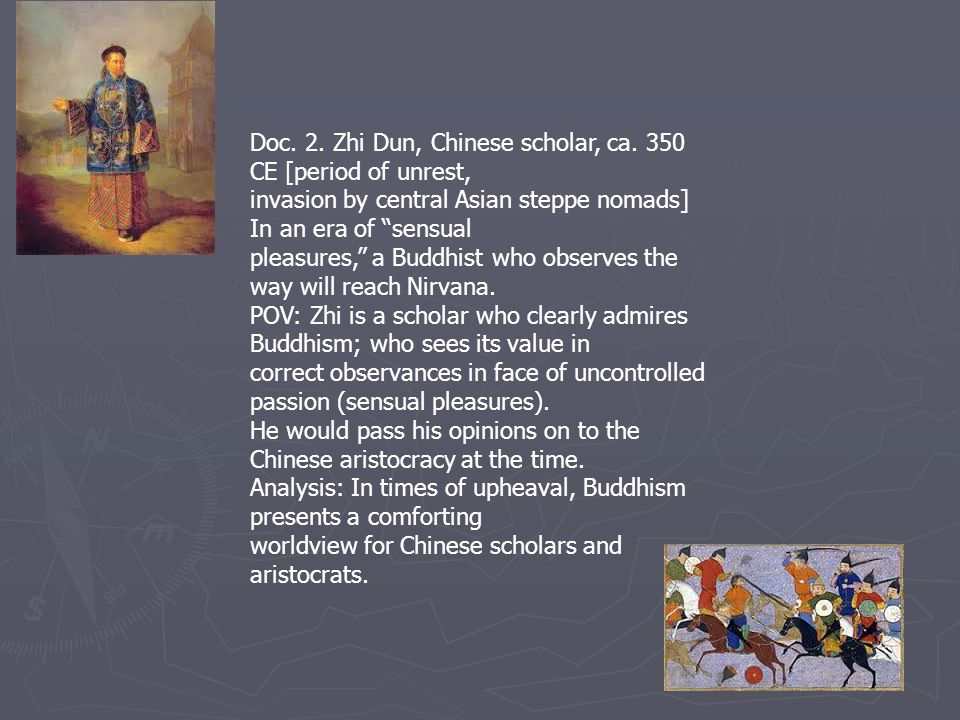 Doc. 2. Zhi Dun, Chinese scholar, ca. 350 CE [period of unrest,